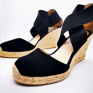 Edward Meller Espadrille Wedge Shoes EU39 Black